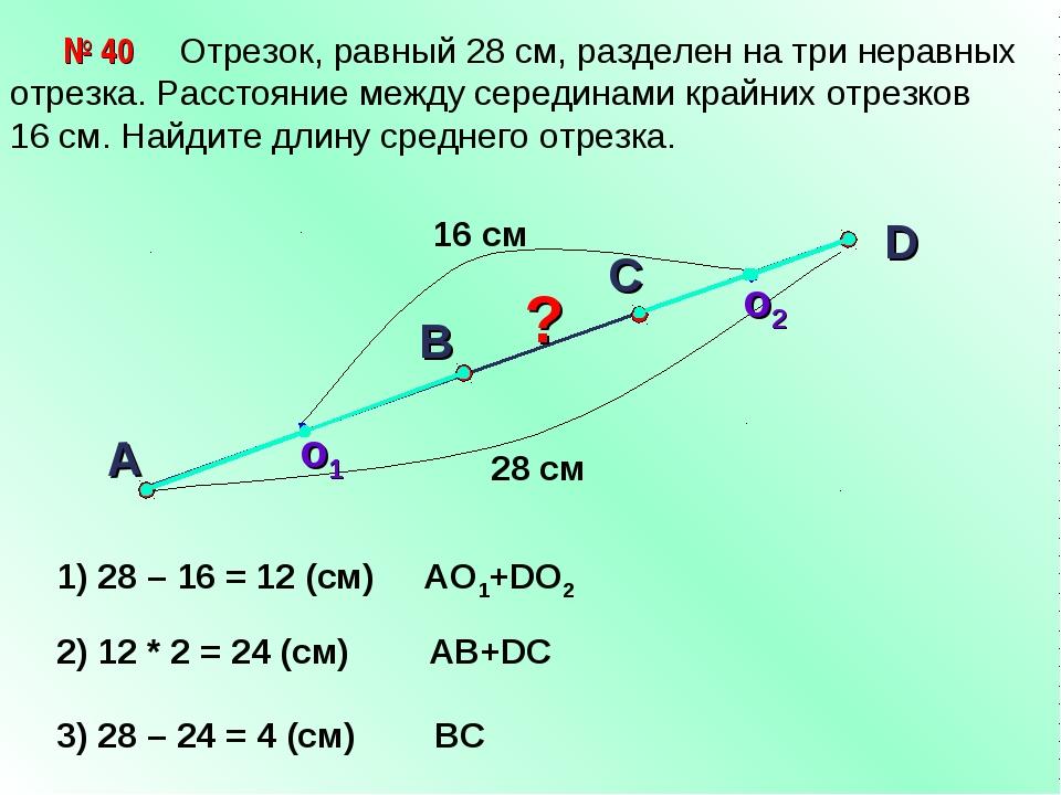 Отрезок, равный 28 см, разделен на три неравных отрезка. Расстояние между се...