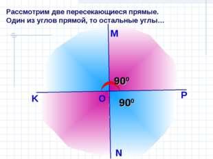 Рассмотрим две пересекающиеся прямые. Один из углов прямой, то остальные углы