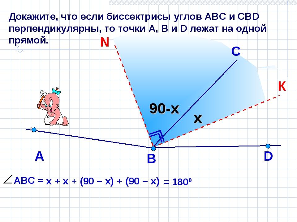 Докажите, что если биссектрисы углов АВС и СВD перпендикулярны, то точки А, В...