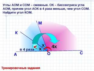 Углы АОМ и СОМ – смежные. ОК – биссектриса угла АОМ, причем угол АОК в 4 раза