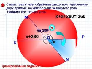 Сумма трех углов, образовавшихся при пересечении двух прямых, на 2800 больше