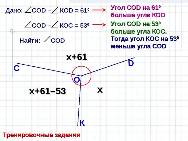 Дано: СОD – КОD = 610 СОD – КОС = 530 Найти: СОD Тренировочные задания К С D...
