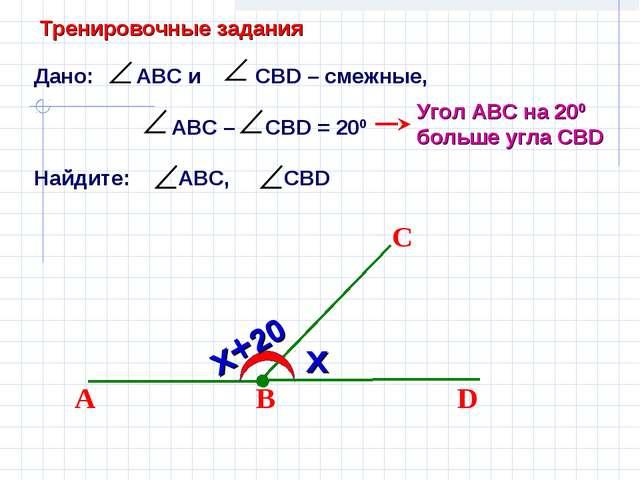 Дано: АВС и СВD – смежные, АВС – CBD = 200 Найдите: АВС, СВD В D С А Угол АВС...