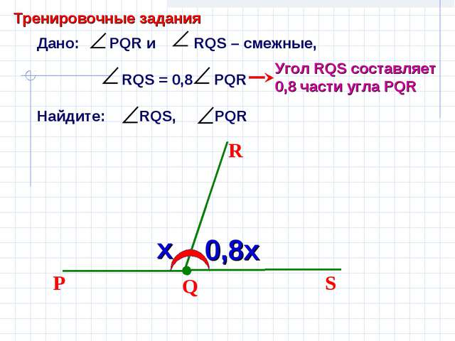 Дано: PQR и RQS – смежные, RQS = 0,8 PQR Найдите: RQS, PQR Q S R P Угол RQS с...