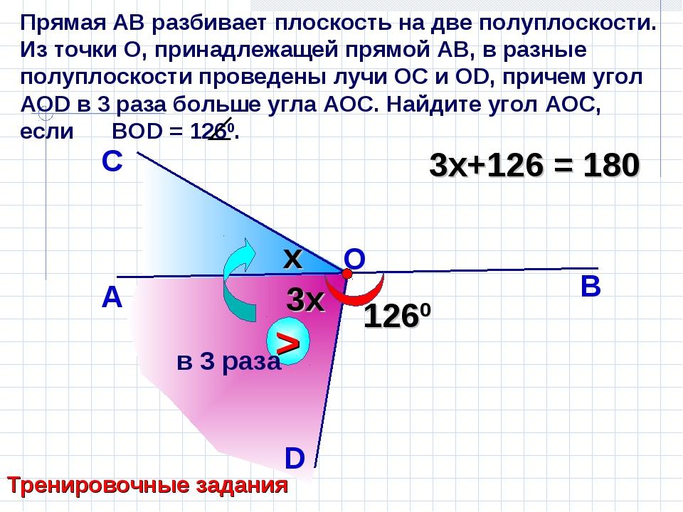 Прямая АВ разбивает плоскость на две полуплоскости. Из точки О, принадлежащей...