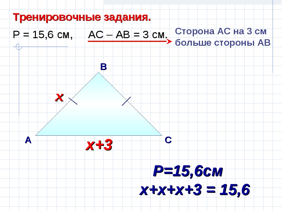 В А С Тренировочные задания. Р = 15,6 см, АС – АВ = 3 см. Сторона AС на 3 см...