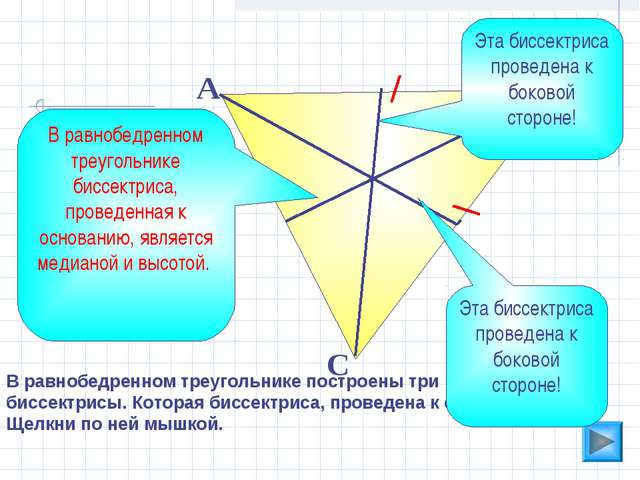 В равнобедренном треугольнике построены три биссектрисы. Которая биссектриса,...