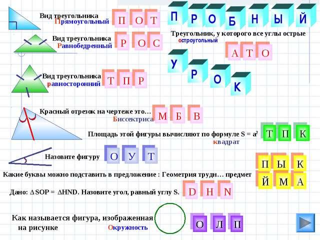 К О Р Ы Н остроугольный Какие буквы можно подставить в предложение : Геометри...