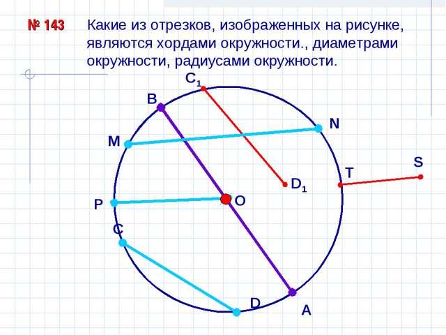 № 143 Какие из отрезков, изображенных на рисунке, являются хордами окружности...