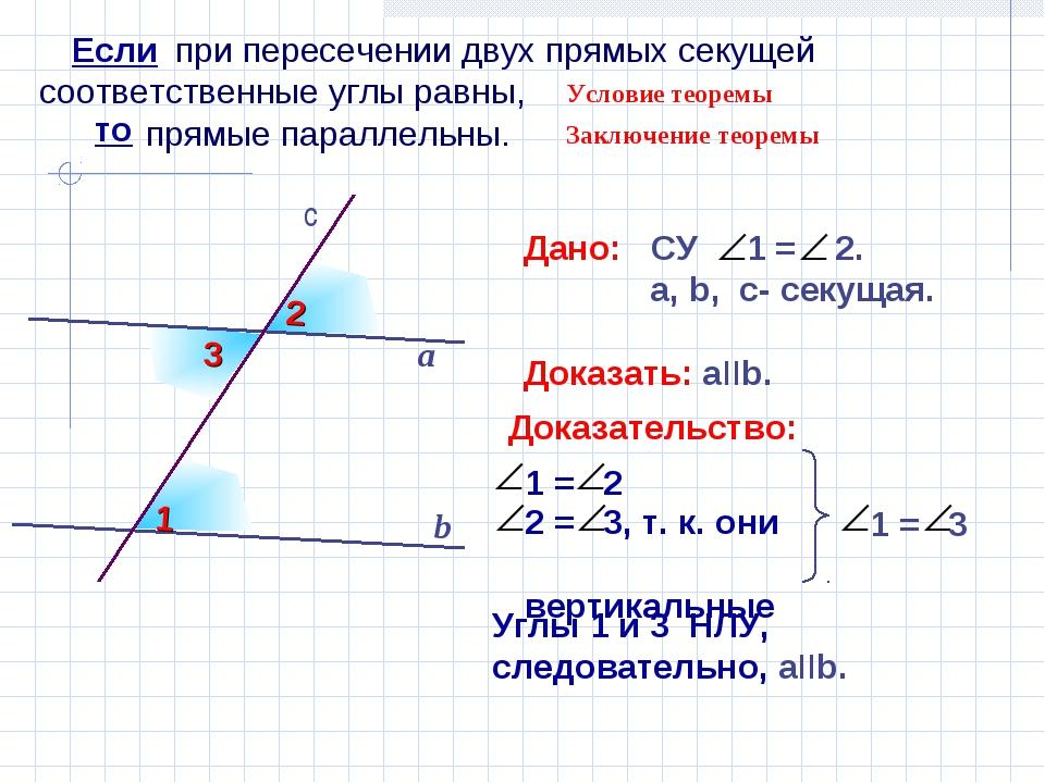 при пересечении двух прямых секущей соответственные углы равны, прямые парал...