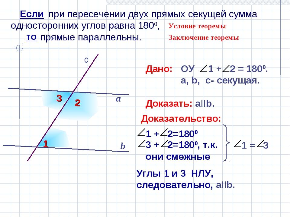 при пересечении двух прямых секущей сумма односторонних углов равна 1800, пр...