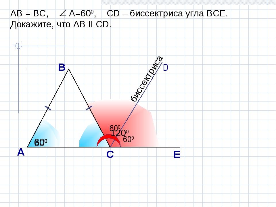 А С В D E AB = BC, A=600, CD – биссектриса угла ВСЕ. Докажите, что АВ II CD....