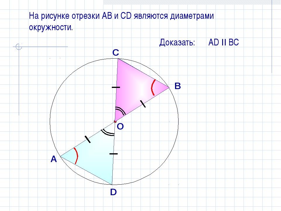На рисунке отрезки АB и СD являются диаметрами окружности. Доказать: АD II ВС...