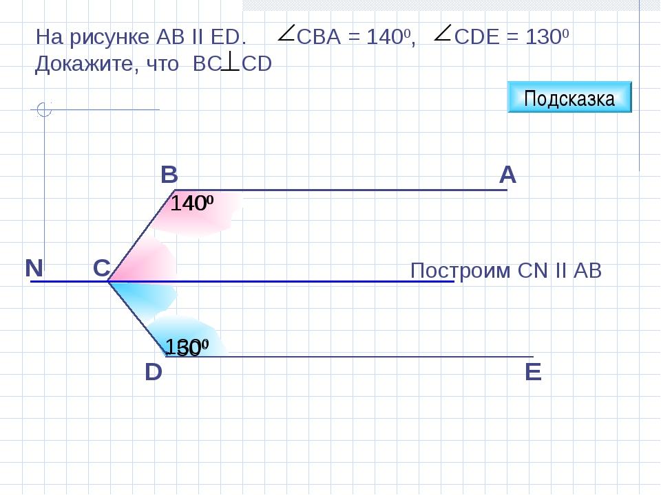 E D A Построим CN II AB B C Подсказка 1400 1300 400 500 На рисунке АВ II ЕD....