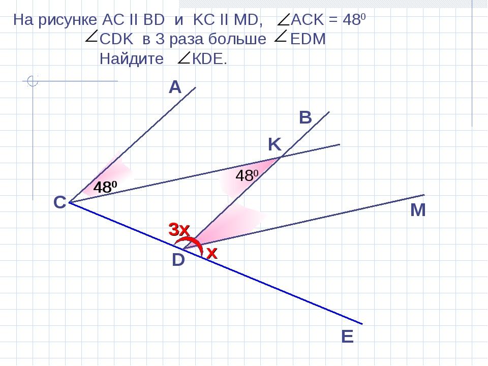 A D E 480 B C M На рисунке АС II BD и KC II MD, ACK = 480 CDK в 3 раза больше...