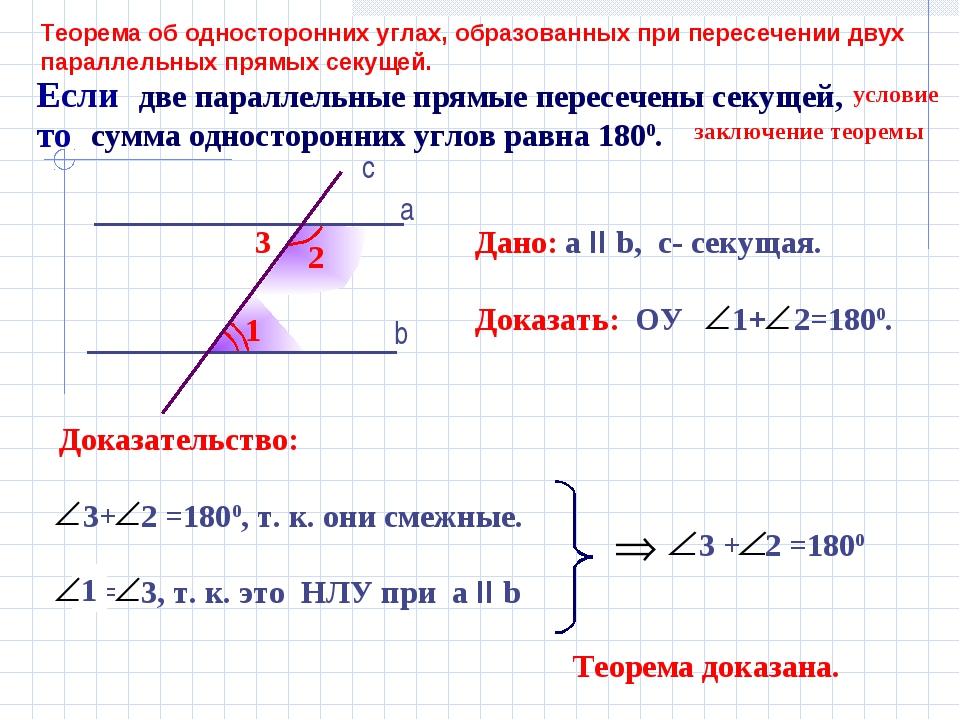 Теорема об односторонних углах, образованных при пересечении двух параллельны...