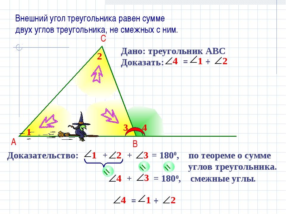 + = 1800, смежные углы. Доказательство: + + = 1800, по теореме о сумме углов...