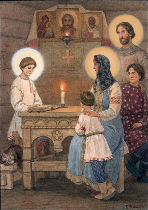 Прпеподобный Сергий в семье картина графика иллюстрация рисунок акварель история репродукция репродукции