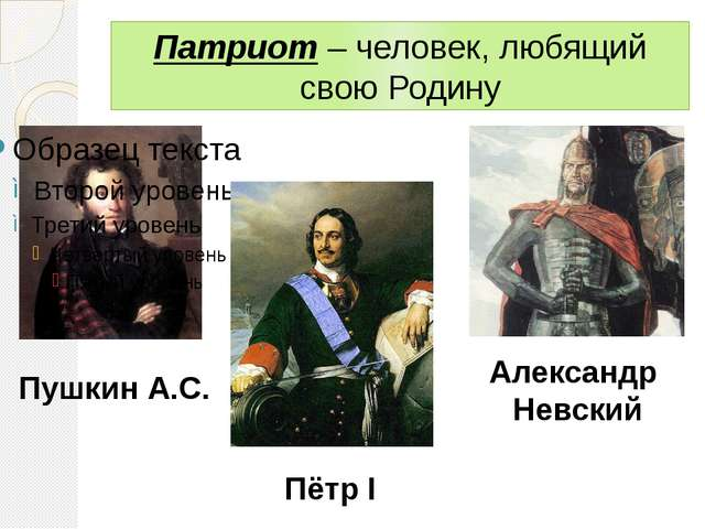 Патриот – человек, любящий свою Родину Пушкин А.С. Пётр I Александр Невский