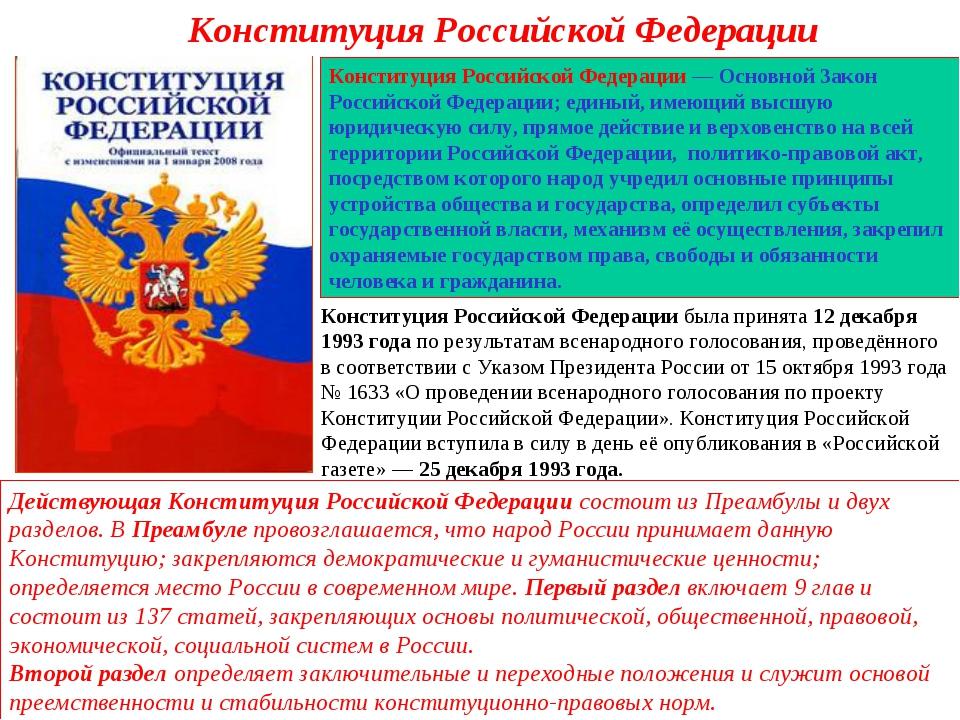 Конституция Российской Федерации Конституция Российской Федерации— Основной...