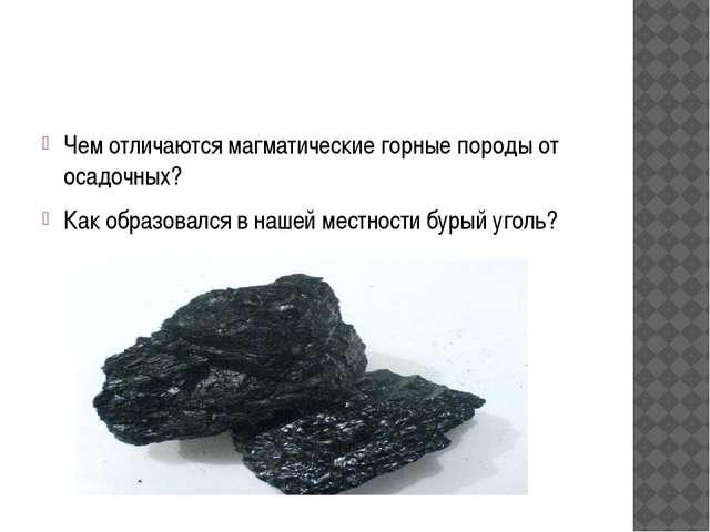 Чем отличаются магматические горные породы от осадочных? Как образовался в н...