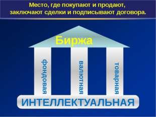 фондовая товарная валютная Биржа ИНТЕЛЛЕКТУАЛЬНАЯ Место, где покупают и прод