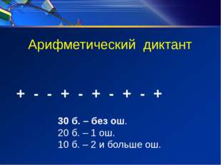 Арифметический диктант + - - + - + - + - + 30 б. – без ош. 20 б. – 1 ош. 10 б