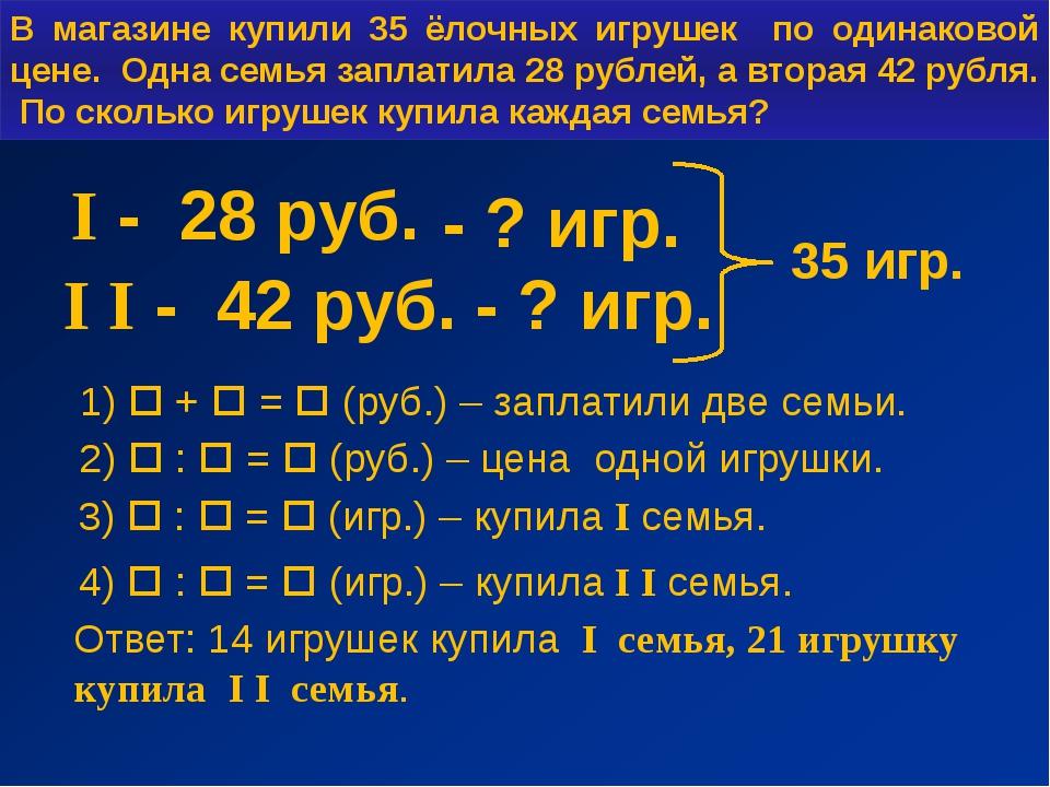 I - 28 руб. I I - 42 руб. - ? игр. - ? игр. 35 игр. 1)  +  =  (руб.) – зап...