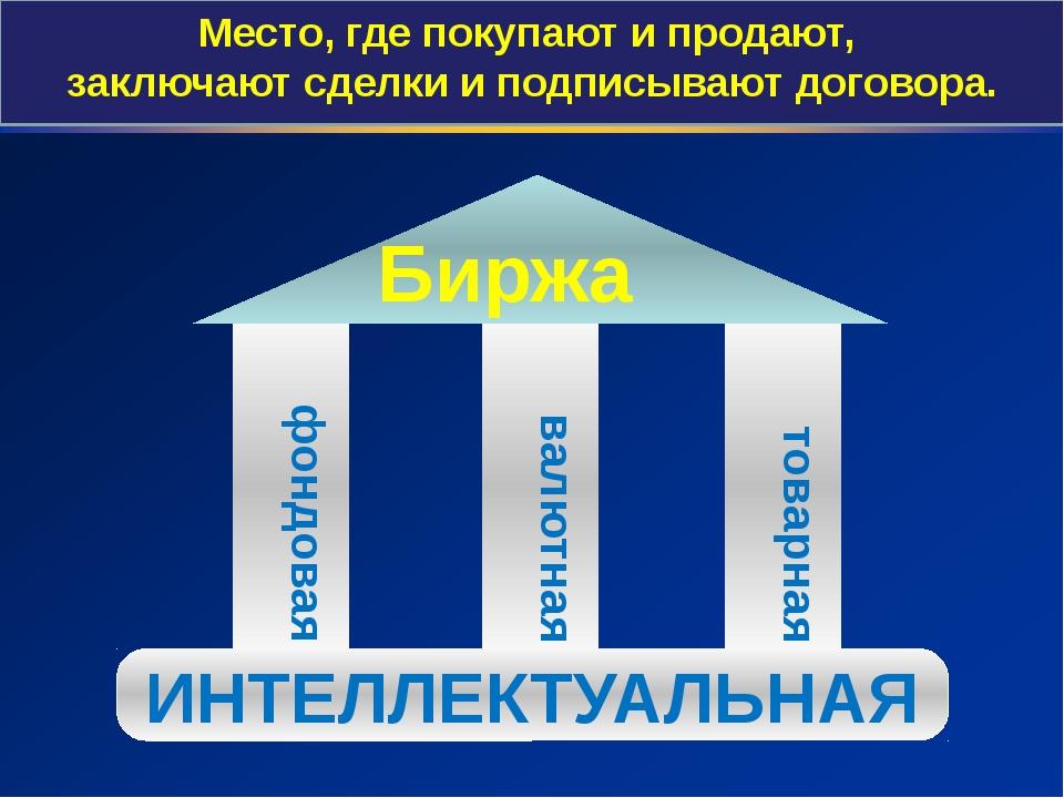 фондовая товарная валютная Биржа ИНТЕЛЛЕКТУАЛЬНАЯ Место, где покупают и прод...