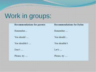 Work in groups: Recommendations for parents Recommendations forDylon Remember