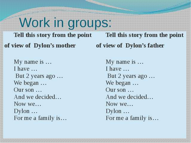 Work in groups: Tell this story from the point of view ofDylon'smother Tell t...