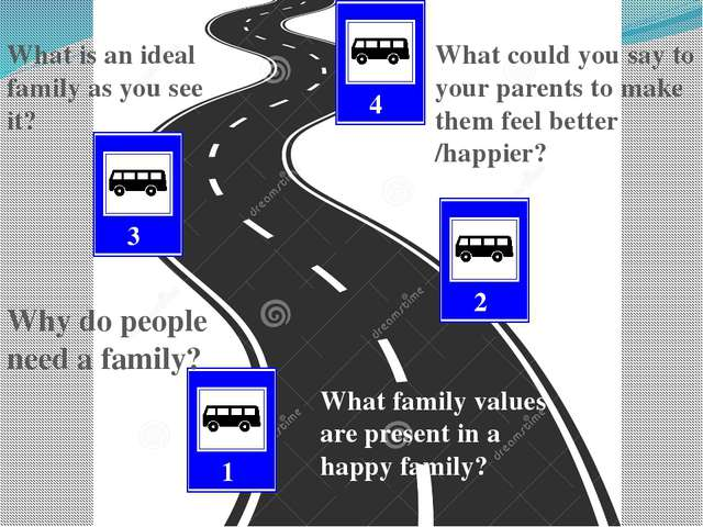 3 1 2 4 Why do people need a family? What family values are present in a hap...