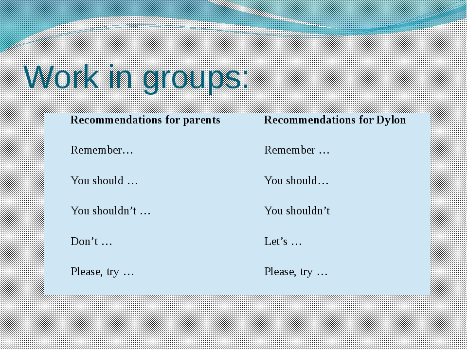 Work in groups: Recommendations for parents Recommendations forDylon Remember...