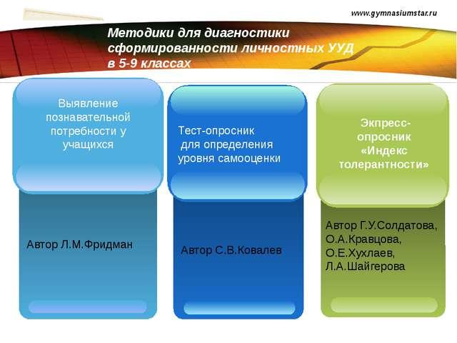 Методики для диагностики сформированности личностных УУД в 5-9 классах www.gy...