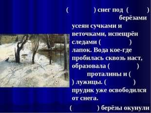 ( ) снег под ( ) берёзами усеян сучками и веточками, испещрён следами ( ) лап