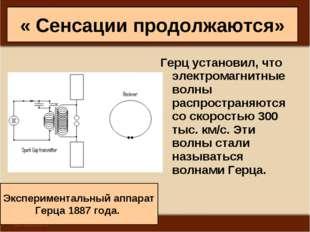 « Сенсации продолжаются» Герц установил, что электромагнитные волны распростр