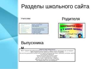 Разделы школьного сайта Учителям Родителям Выпускникам