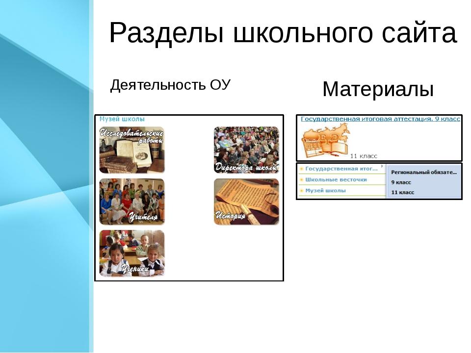 Разделы школьного сайта Деятельность ОУ Материалы