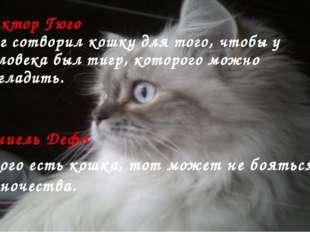 Виктор Гюго Бог сотворил кошку для того, чтобы у человека был тигр, которого