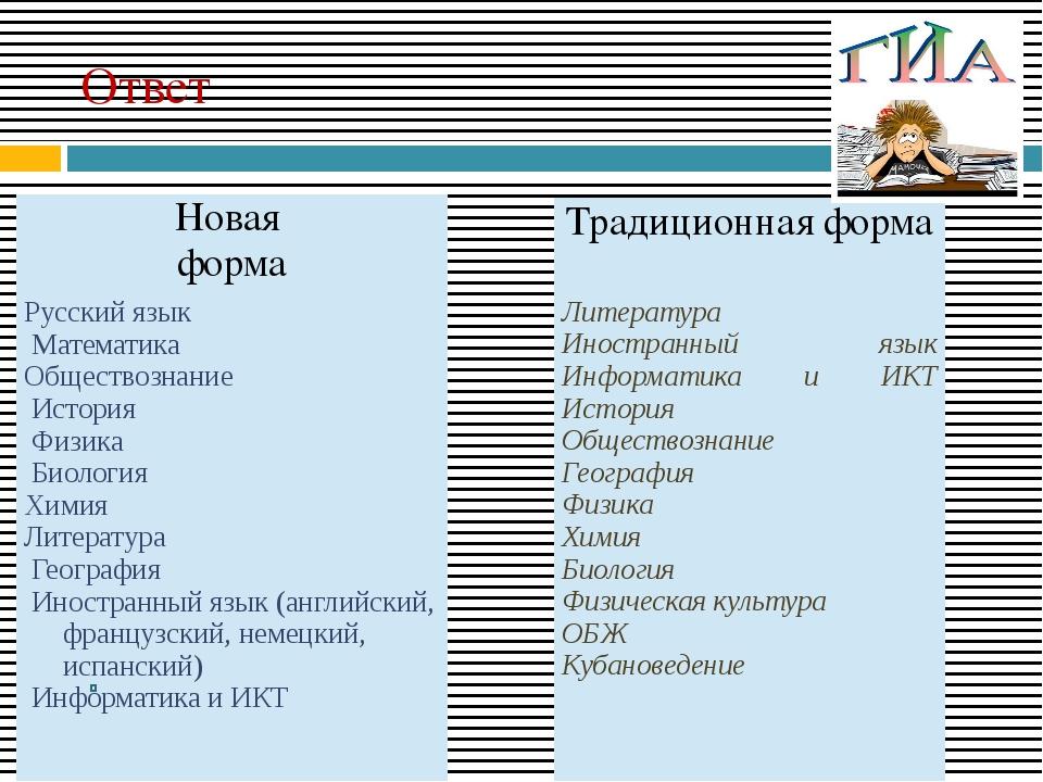 Ответ Новая форма Русскийязык Математика Обществознание История Физика Биолог...