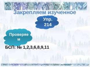 Закрепляем изученное БСП: № 1,2,3,6,8,9,11 Упр. 214 Проверяем
