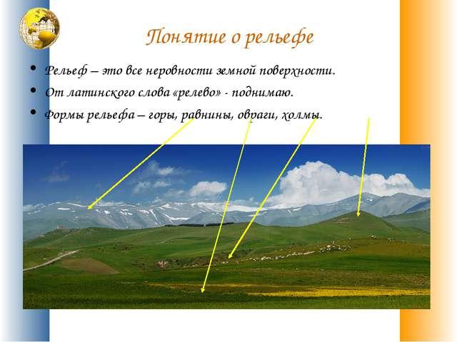 Понятие о рельефе Рельеф – это все неровности земной поверхности. От латинско...