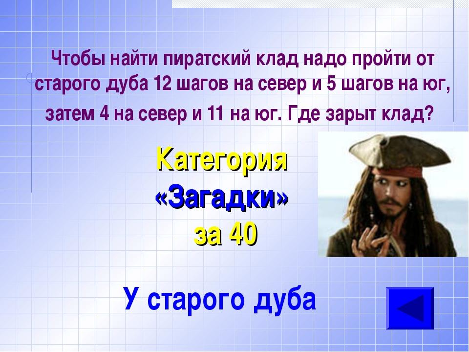 Чтобы найти пиратский клад надо пройти от старого дуба 12 шагов на север и 5...