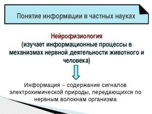 Понятие информации в частных науках Нейрофизиология (изучает информационные