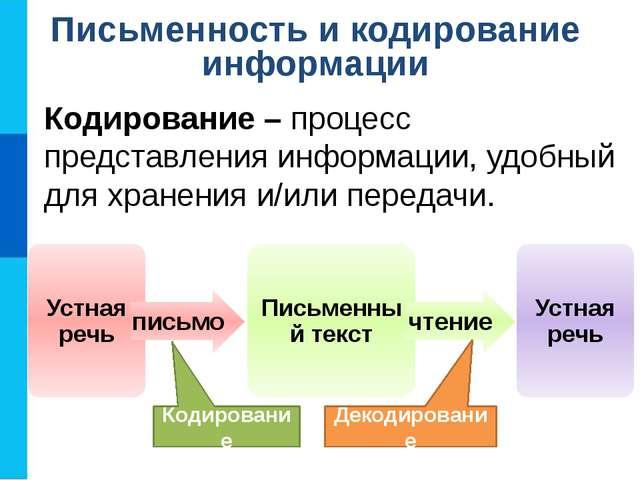 Кодирование – процесс представления информации, удобный для хранения и/или пе...