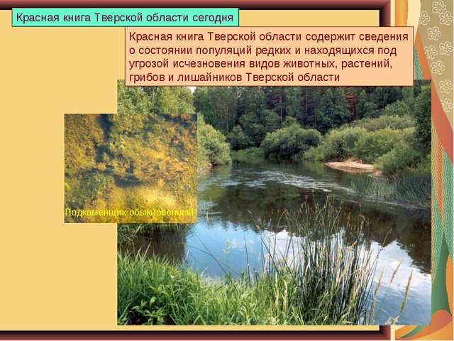 Красная книга Тверской области содержит сведения о состоянии популяций редких...