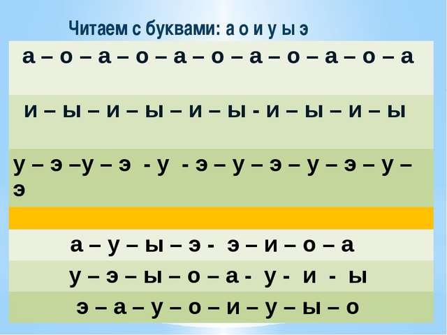 Читаем с буквами: а о и у ы э а – о – а – о – а – о – а – о– а – о – а и –ы–и...