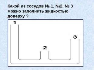 Какой из сосудов № 1, №2, № 3 можно заполнить жидкостью доверху ?