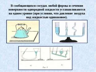 В сообщающихся сосудах любой формы и сечения поверхности однородной жидкости