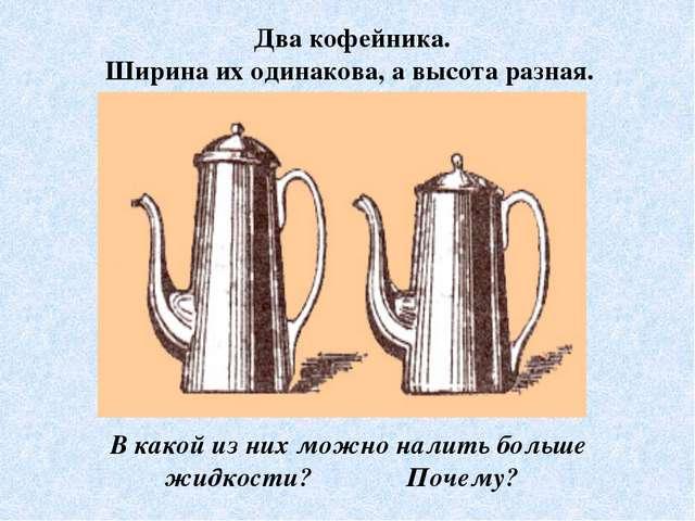 Два кофейника. Ширина их одинакова, а высота разная. В какой из них можно нал...
